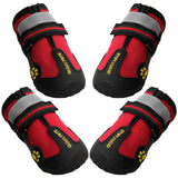 "QUMY Dog Boots Waterproof Shoes for Large Dogs with Reflective Velcro Rugged Anti-Slip Sole Black 4PCS (Size 8: 3.3""x2.9""(LW), Red)"