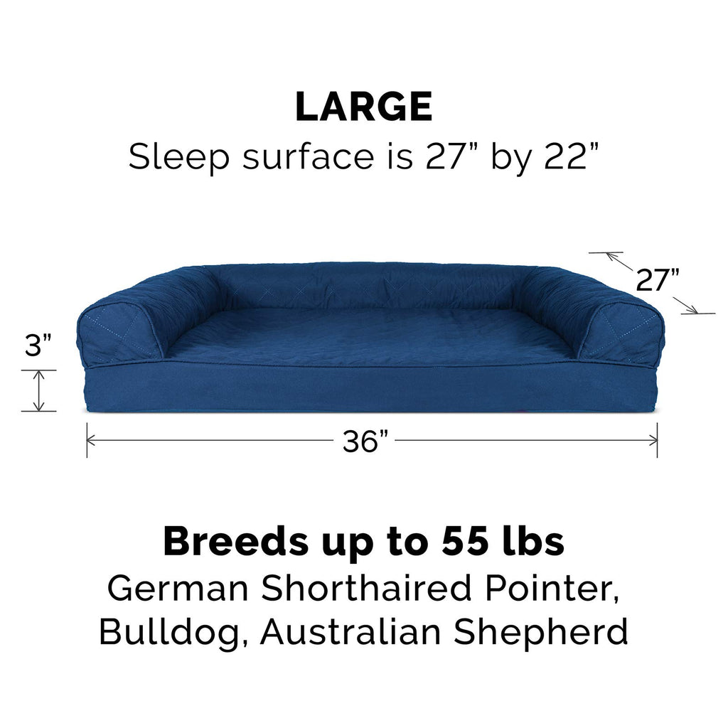 FurHaven Pet Dog Bed | Memory Foam Quilted Sofa-Style Couch Pet Bed for Dogs & Cats, Navy, Large