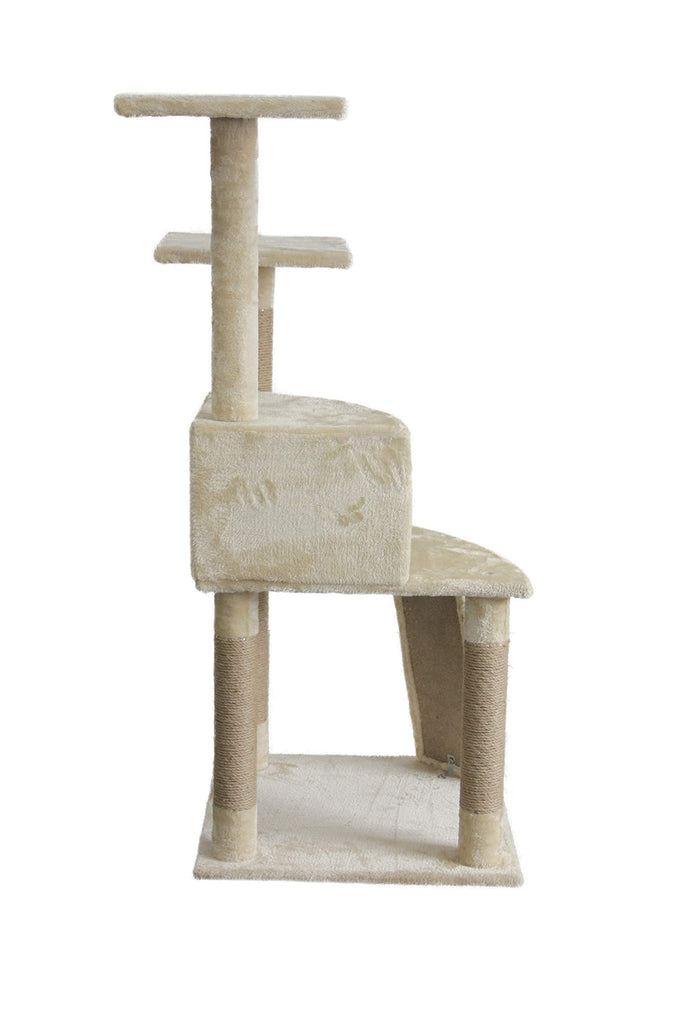 AmazonBasics Cat Condo Tree Tower with Cave And Ramp - 29.5 x 27 x 52 Inches, Beige