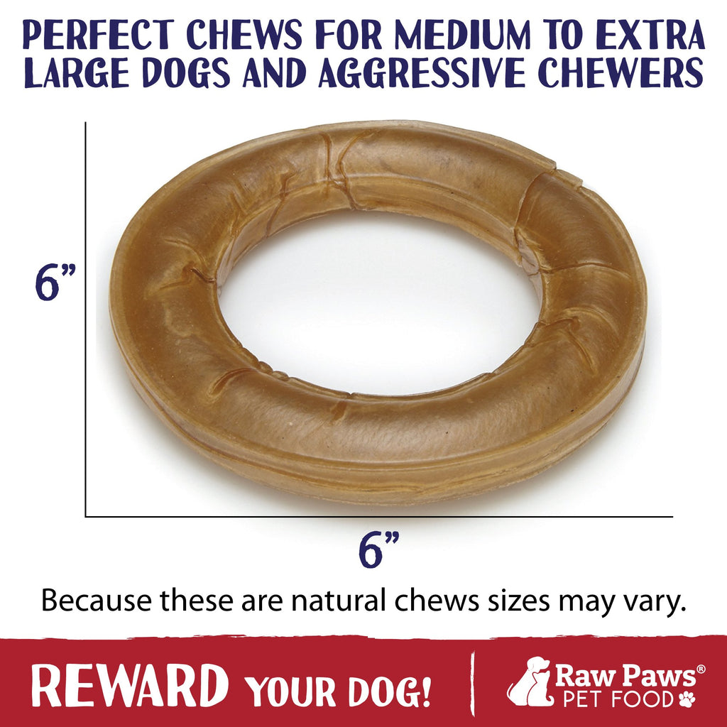 Raw Paws 6-inch Compressed Rawhide Ring Treats for Dogs, 10-count - Packed in the USA - Rawhide Rings for Dogs - Digestible Rawhide Donuts - Natural Beef Hide Dogs Chews - Natural Puppy Teething Rings
