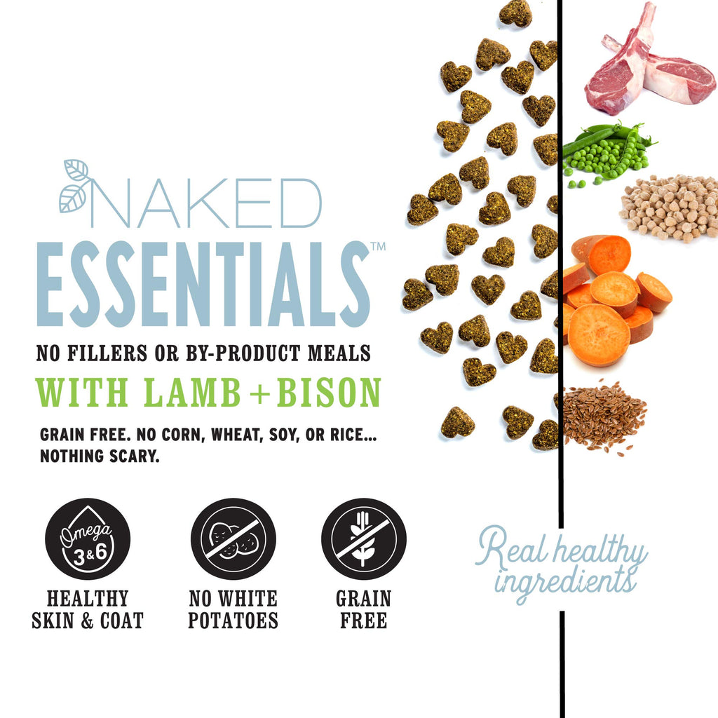 """I and love and you"" Naked Essentials Dry Dog Food - Natural Grain Free Kibble, Lamb + Bison, 23-Pound Bag"