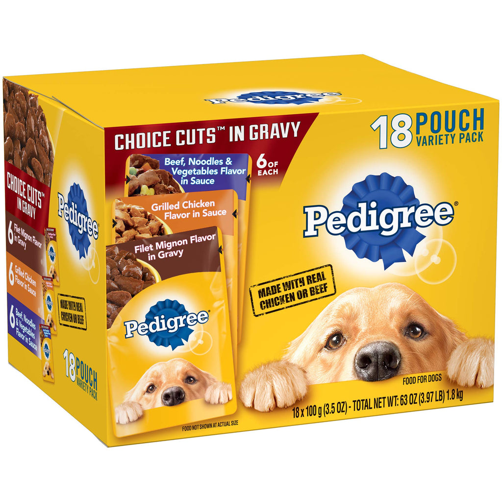 Pedigree Choice Cuts In Gravy Adult Wet Dog Food Variety Pack, (18) 3.5 Oz. Pouches