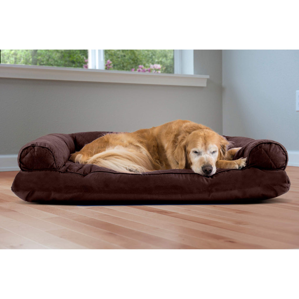 Furhaven Pet Dog Bed | Quilted Pillow Cushion Sofa-Style Living Room Couch Pet Bed for Dogs & Cats, Coffee, Jumbo