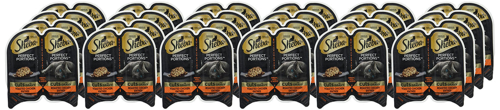 Sheba Perfect Portions Wet Cat Food Cuts In Gravy Roasted Chicken Entrée, (24) 2.6 Oz. Twin-Pack Trays