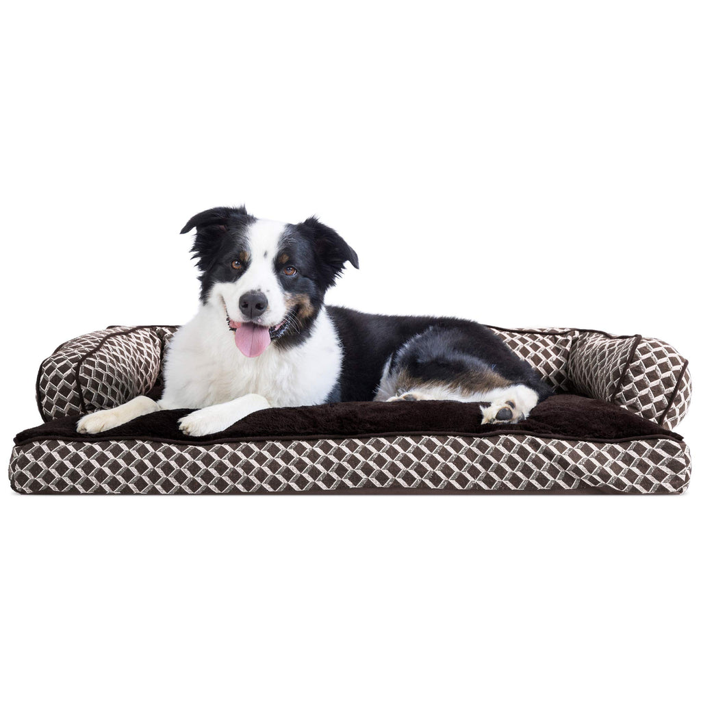 FurHaven Pet Dog Bed | Plush & Décor Comfy Couch Pillow Sofa-Style Couch Pet Bed for Dogs & Cats, Diamond Brown, Large