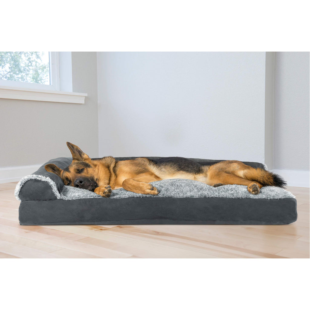 FurHaven Pet Dog Bed | Faux Fur & Suede L-Shaped Chaise Lounge Pillow Sofa-Style Pet Bed for Dogs & Cats, Stone Gray, Jumbo