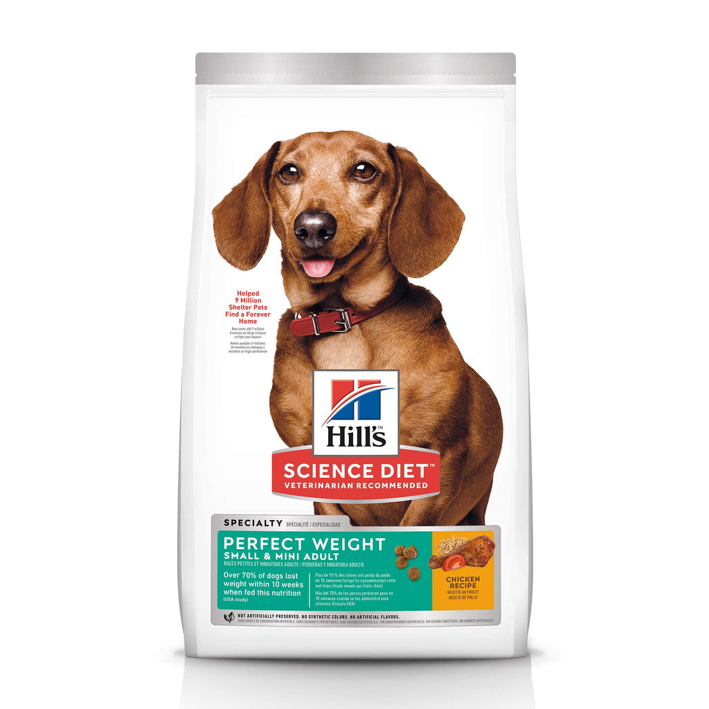 Hill's Science Diet Dry Dog Food, Adult, Perfect Weight for Healthy Weight & Weight Management, Small & Mini, Chicken Recipe, 15 lb Bag