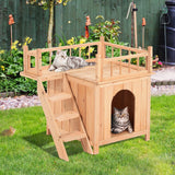 PawHut 2-Story Indoor/Outdoor Wood Cat House Shelter