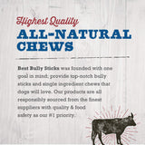 Best Bully Sticks Odor-Free Angus 12-inch Bully Sticks (12 Pack) - Made of All-Natural, Free-Range, Grass-Fed Angus Beef - Hand-Inspected and USDA/FDA-Approved