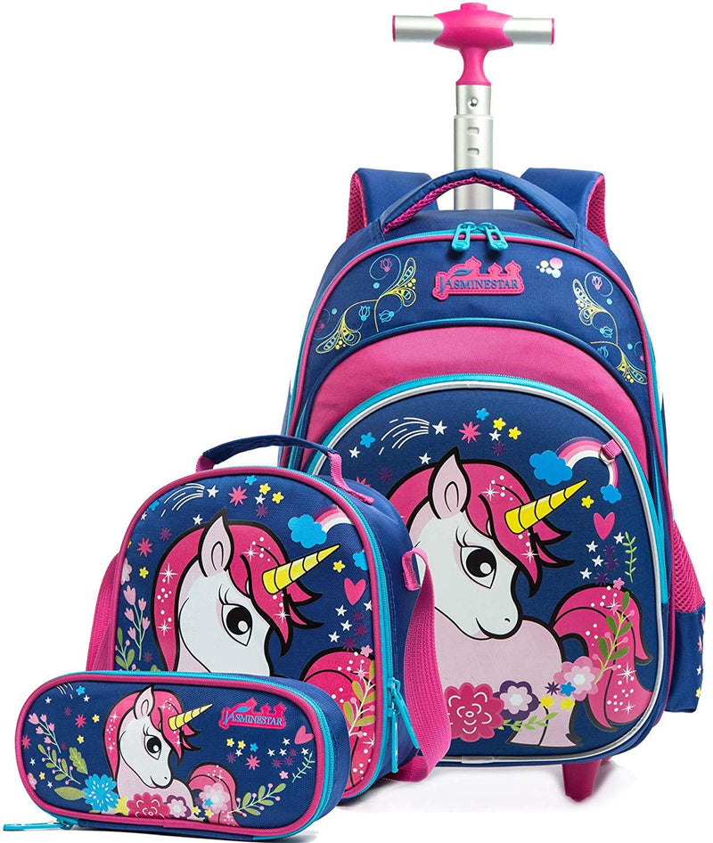 Tilami Rolling Backpack 16 Inch School College Travel Carry-on Backpack Boys Girls Pink Hourse