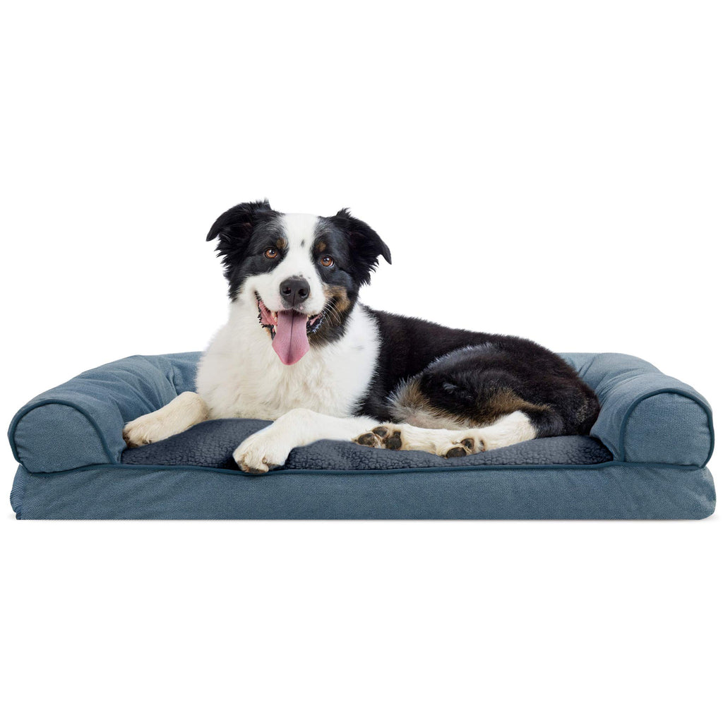 FurHaven Pet Dog Bed | Faux Fleece & Chenille Soft Woven Pillow Sofa-Style Couch Pet Bed for Dogs & Cats, Orion Blue, Large