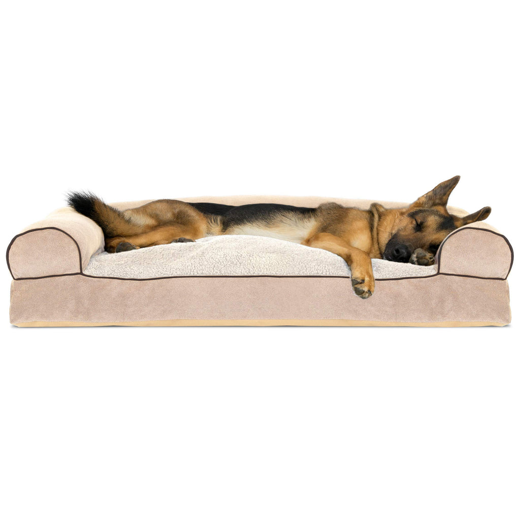 FurHaven Pet Dog Bed | Faux Fleece & Chenille Soft Woven Pillow Sofa-Style Couch Pet Bed for Dogs & Cats, Cream, Jumbo
