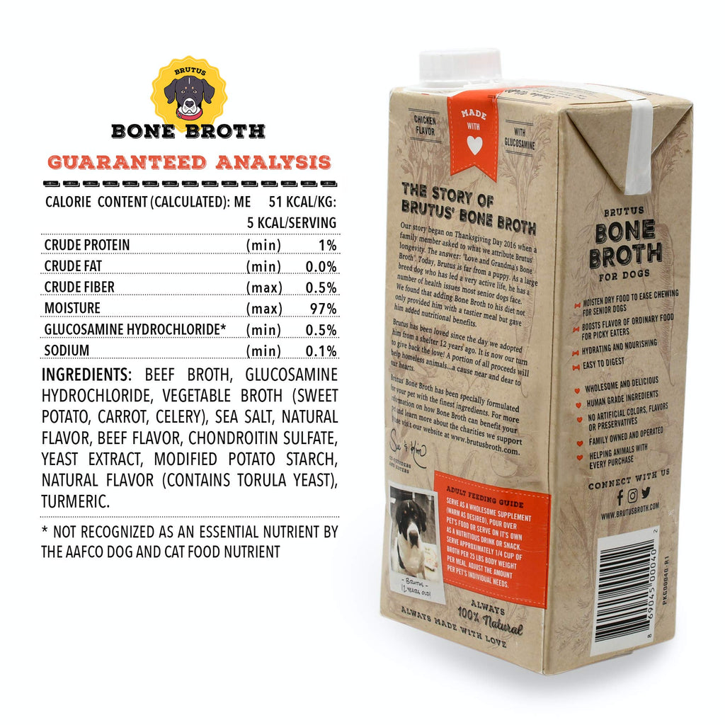 Brutus Bone Broth for Dogs | Beef 2-Pack (64 oz) Made in USA | Glucosamine & Chondroitin for Puppy Joints