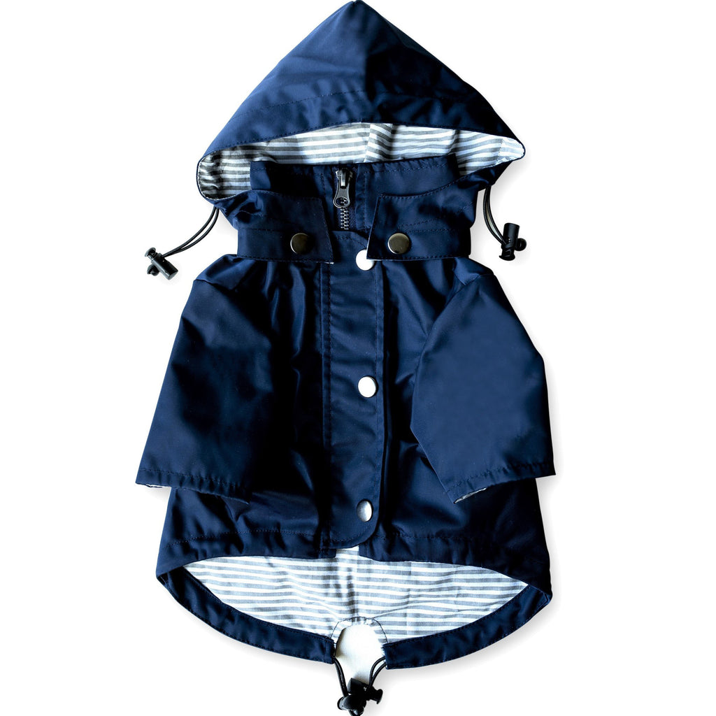 Navy Blue Zip Up Dog Raincoat with Reflective Buttons, Pockets, Rain/Water Resistant, Adjustable Drawstring, Removable Hood - Size XS to XXL Available - Stylish Premium Dog Raincoats by Ellie (S)