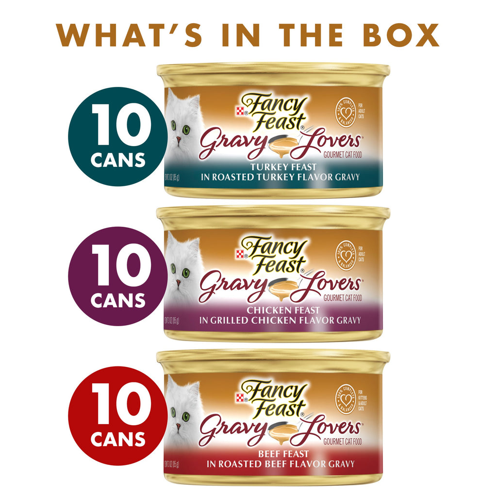 Purina Fancy Feast Gravy Wet Cat Food  Variety Pack; Gravy Lovers Poultry & Beef Feast Collection - (30) 3 oz. Cans