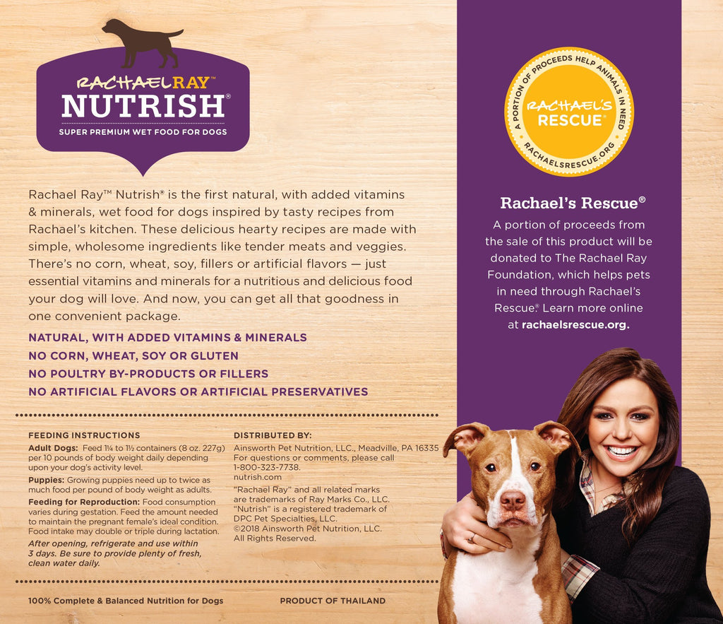 Rachael Ray Nutrish Natural Wet Dog Food, Hearty Recipes Variety Pack, 8 Oz. Tub (Pack Of 12)