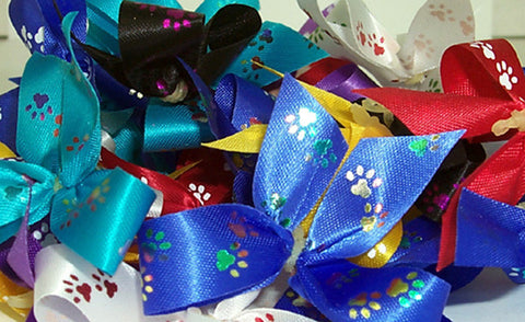 "Assorted Paw Print Bows, 5/8""wide (50 pack)"