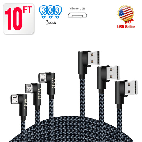 3 pack 10 ft extra long 90 degree right angle durable nylon braided MICRO USB CABLE charger & sync cord for Android Samsung LG ( Gray&Black,10ft )