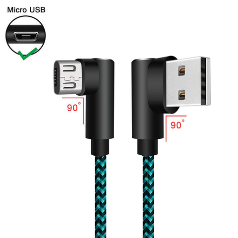 Image of 3 pack 10 ft extra long 90 degree right angle durable nylon braided MICRO USB CABLE charger & sync cord for Android Samsung LG ( Blue&Black,10ft )