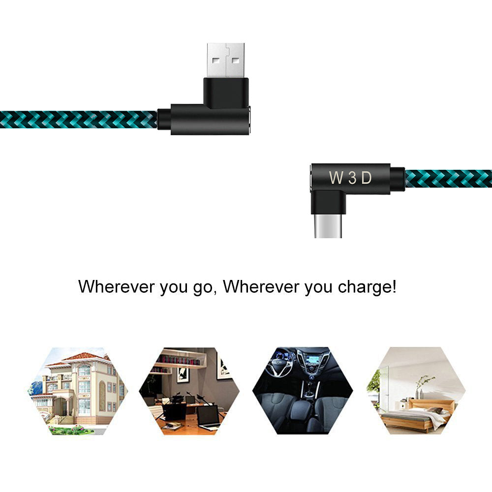 3 pack 10 ft extra long 90 degree right angle durable nylon braided TYPE C CABLE ( USB to USB C ) charger & sync cord ( Blue&Black,10ft )