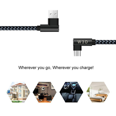 3 pack 10 ft extra long 90 degree right angle durable nylon braided TYPE C CABLE ( USB to USB C ) charger & sync cord ( Gray&Black,10ft )