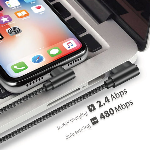Image of 3 pack 10 ft extra long 90 degree right angle durable nylon braided LIGHTNING CABLE charger & data cord for Apple iPhone ( Gray&Black,10ft )