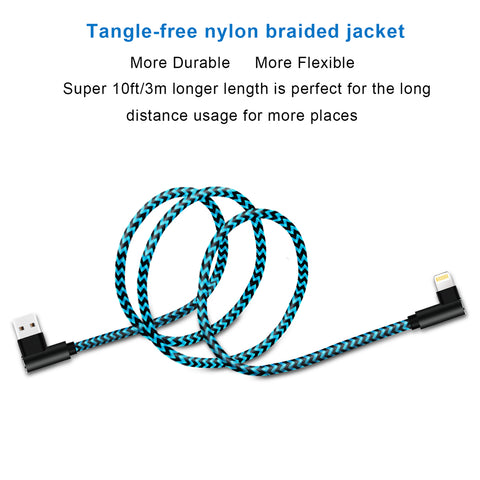 3 pack 10 ft extra long 90 degree right angle durable nylon braided LIGHTNING CABLE charger & data cord for Apple iPhone ( Blue&Black,10ft )
