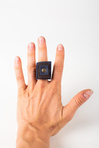 All Cubed Up Leather Ring
