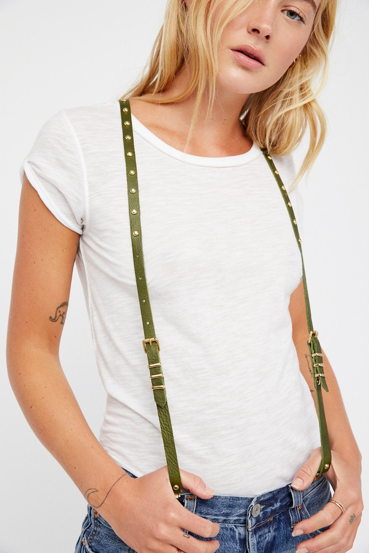 LUX Studded Leather Suspenders