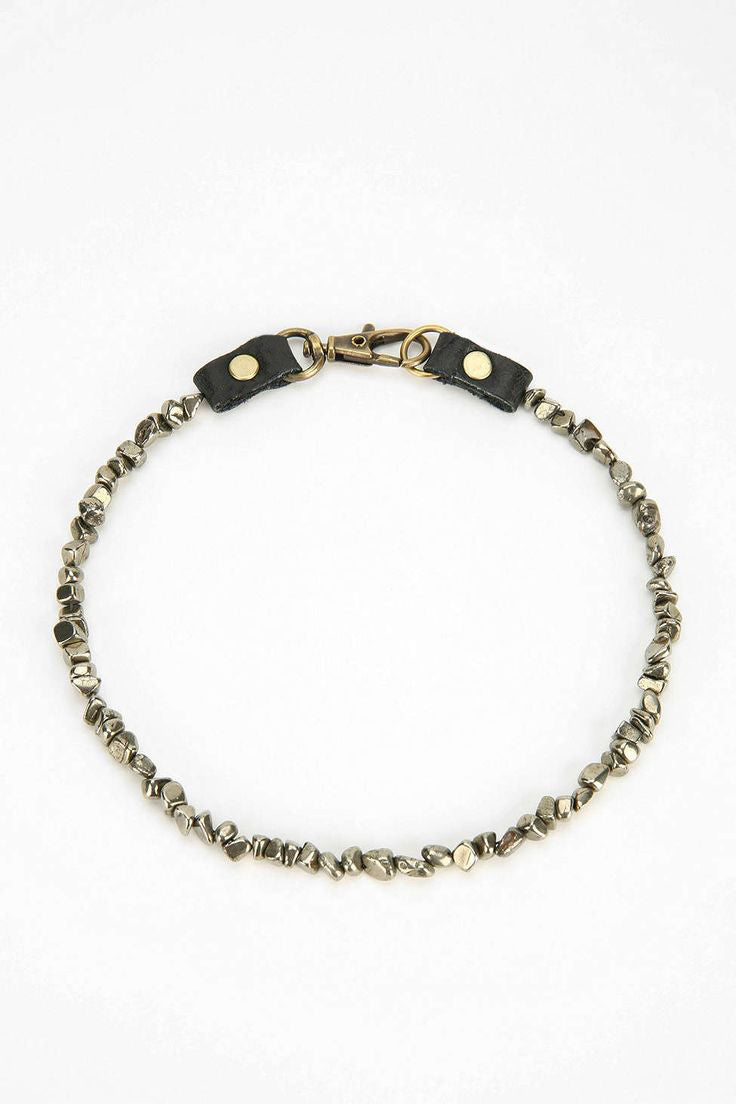 Pyrite Stone & Leather Choker - JAKIMAC  - 3