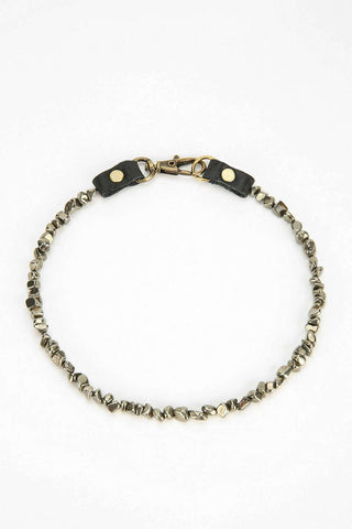 Pyrite Stone & Leather Choker