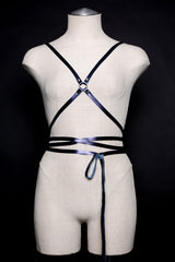 Infinity Leather Body Wrap Harness - METALLIC BLUE