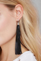 WARRIOR Leather Tassel Stud Earrings - JAKIMAC  - 1