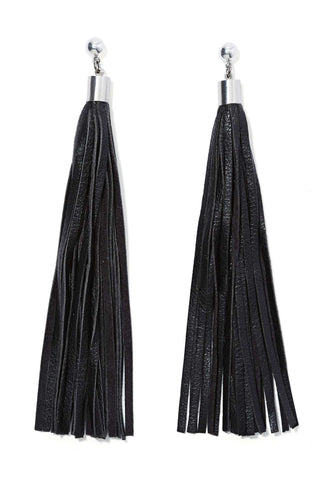 WARRIOR Leather Tassel Stud Earrings
