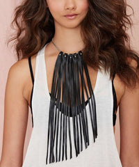 Warrior Leather Fringe Necklace - JAKIMAC  - 4