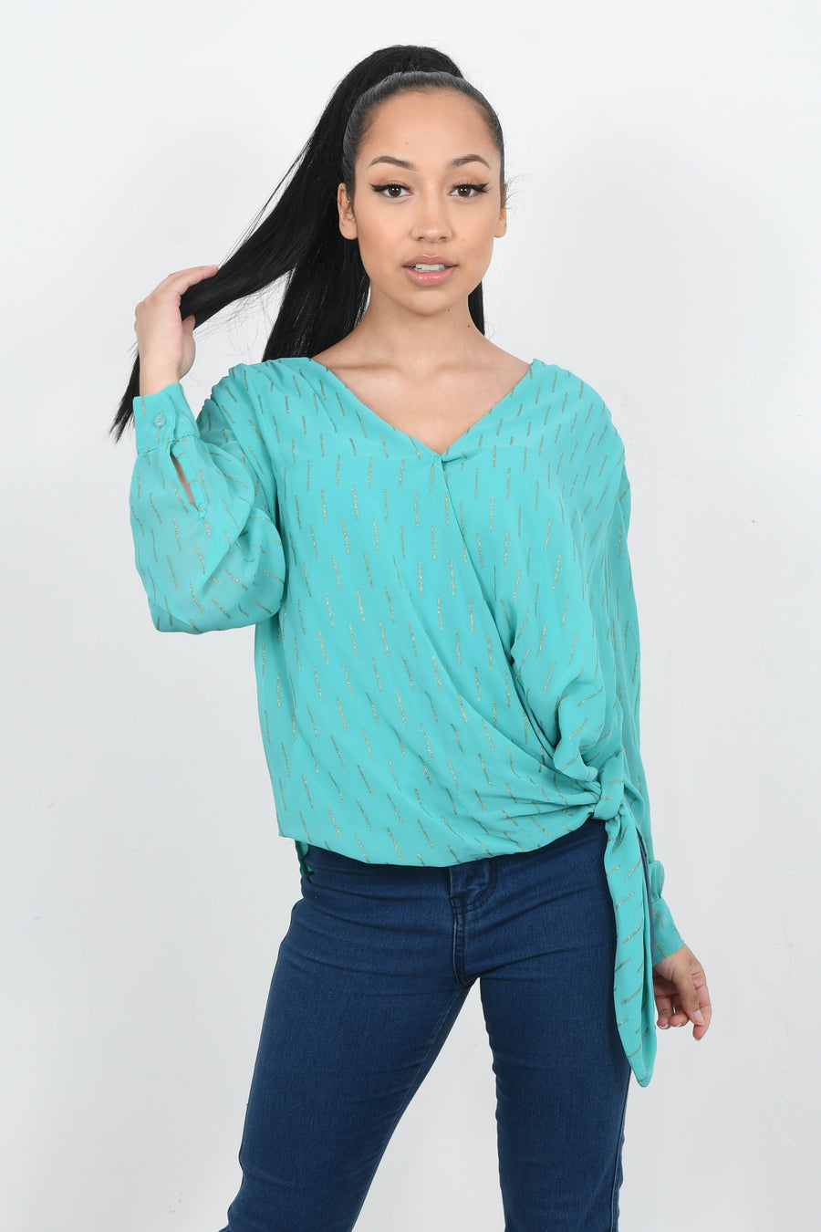 CROSS OVER CHIFFON TOP WITH GLITZY PRINT