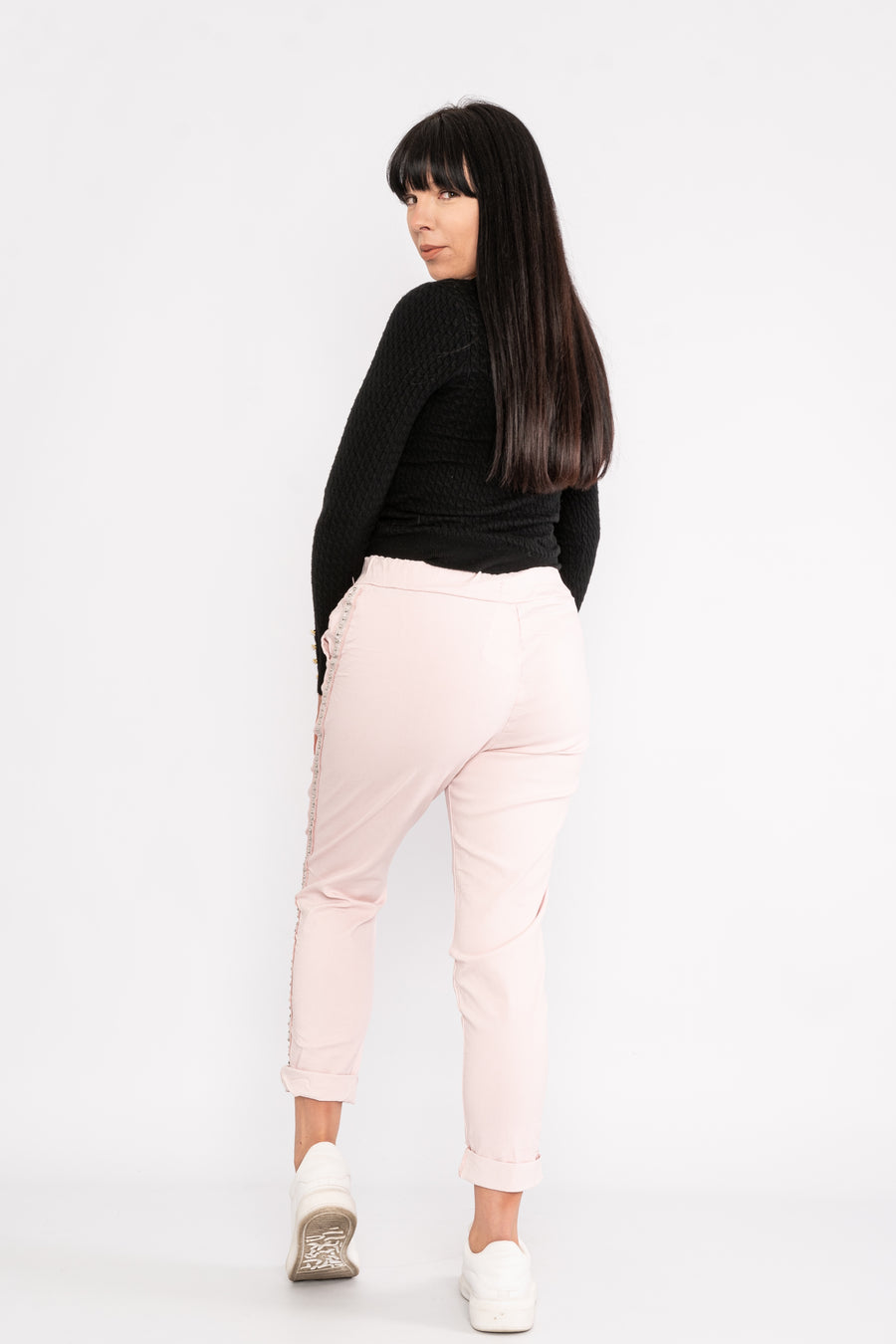 High stretch cropped magic trousers with studded side stripe