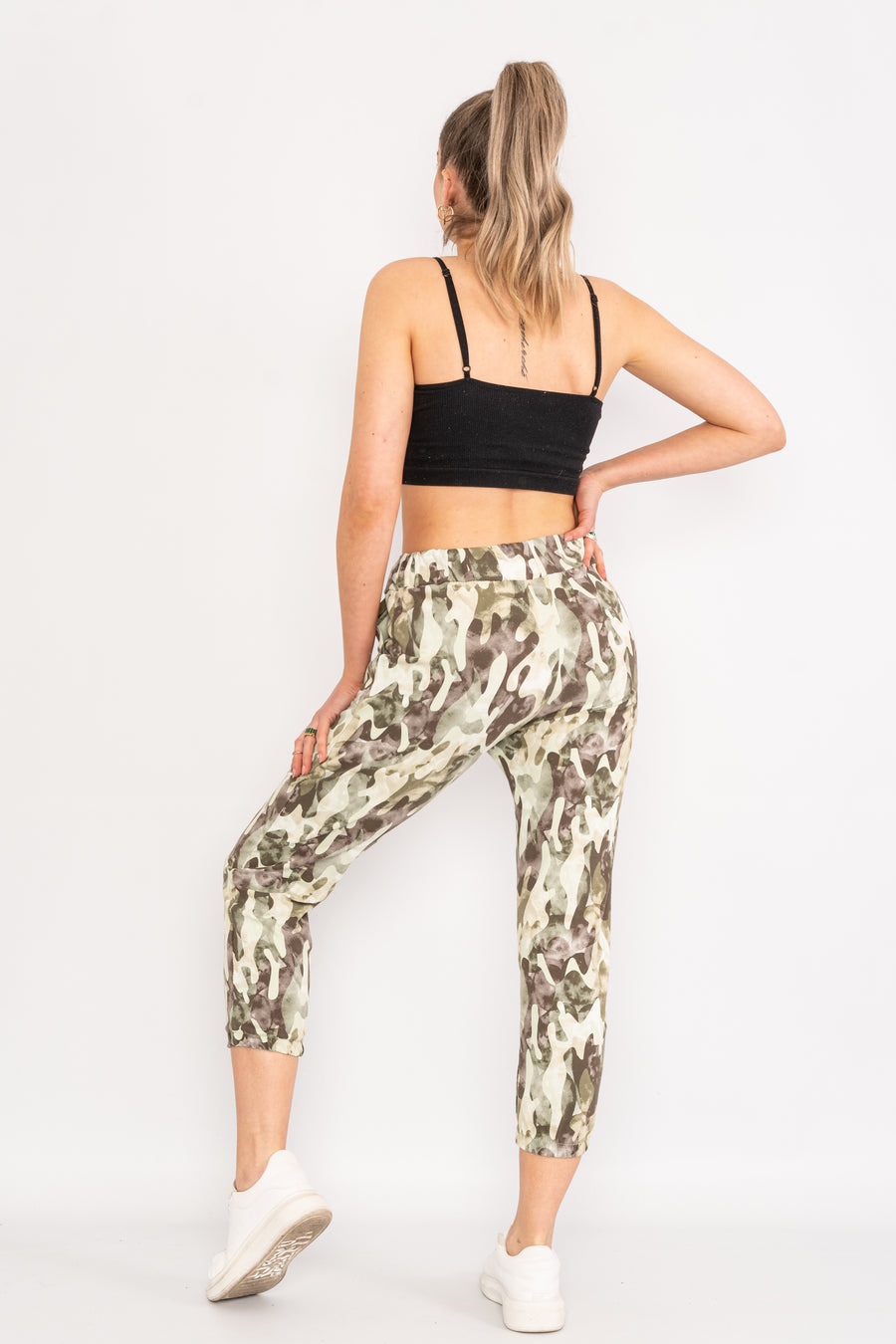 Drawstring camouflage bottoms.