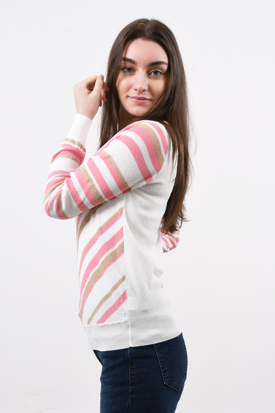 Striped light knit top.