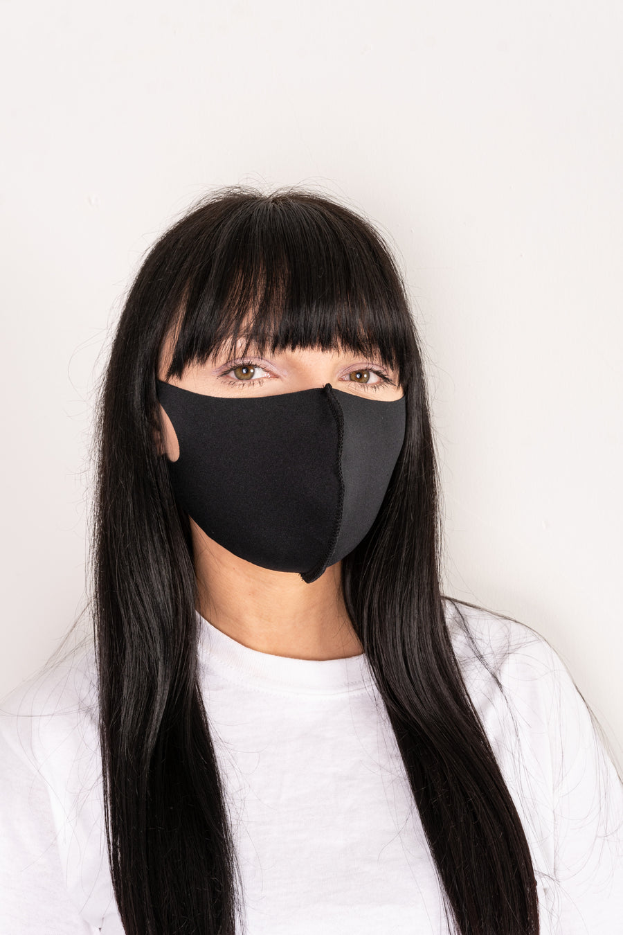 Neoprene face mask with ear straps.