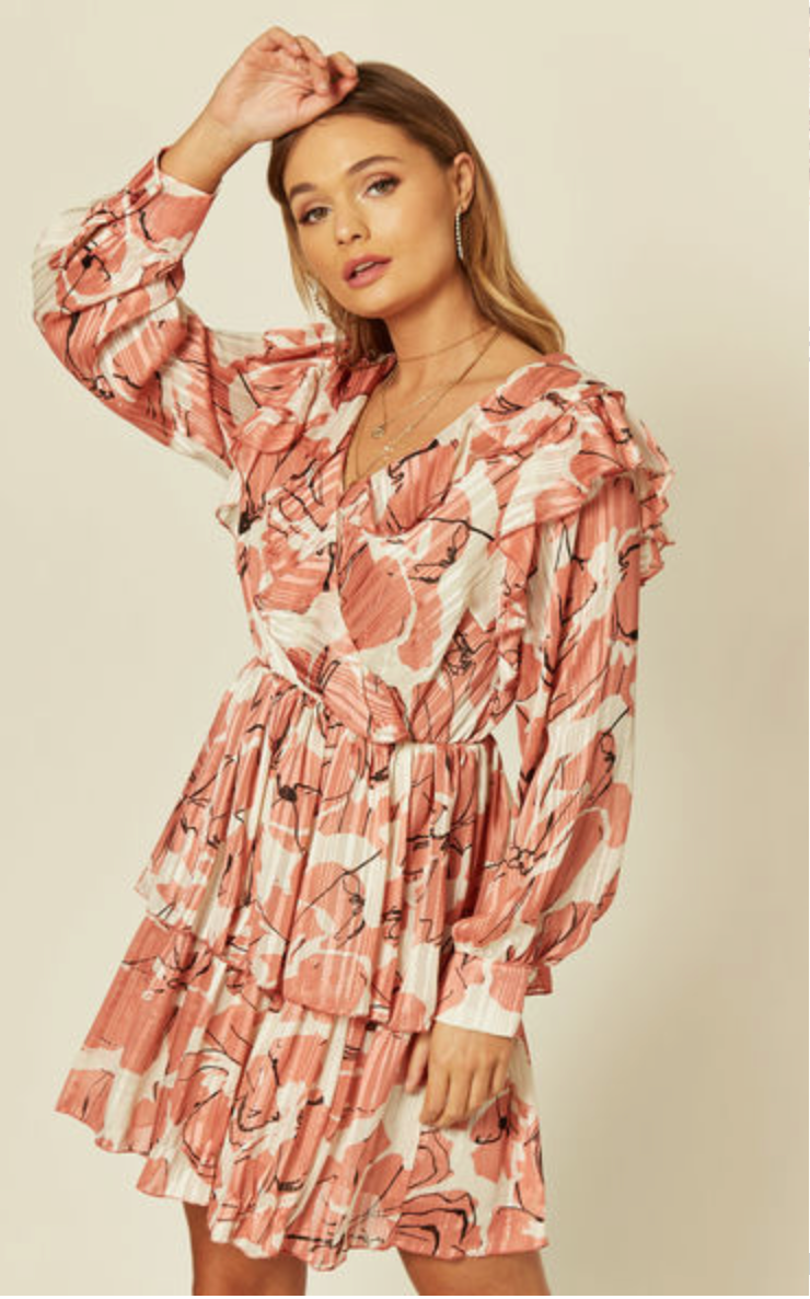 Chiffon Mini Dress in Floral Print