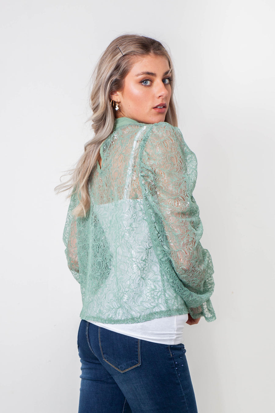 FOILED LACE TOP WITH NECK TIE