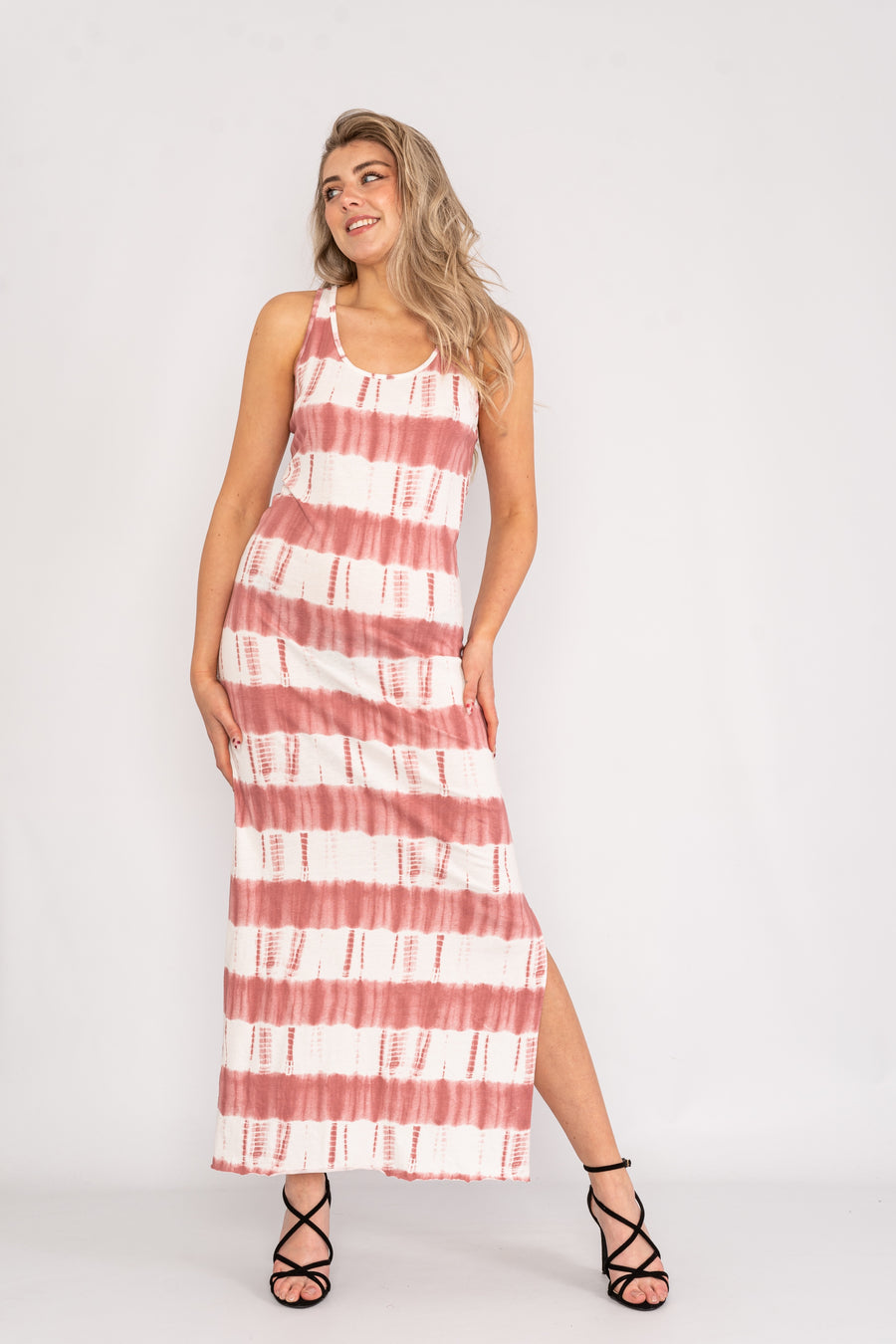 Striped maxi dress with side split.