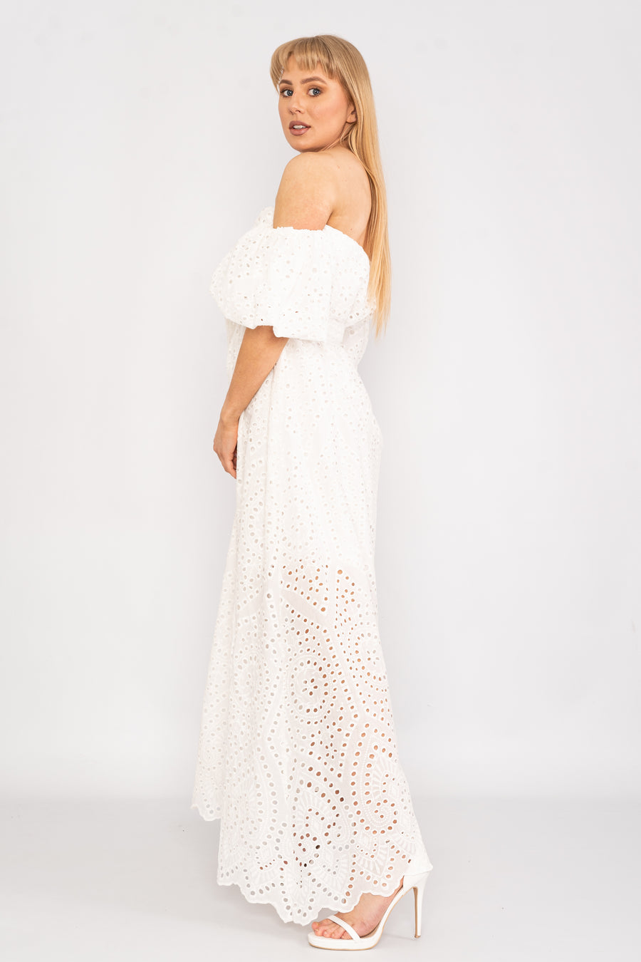 Cold shoulder mesh maxi dress.