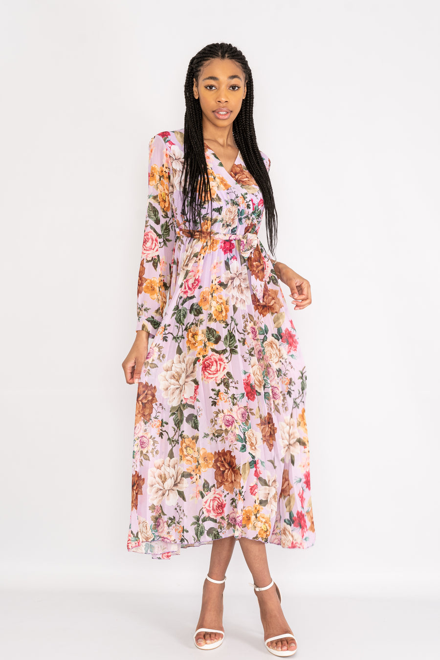 Long sleeved floral dress with belt