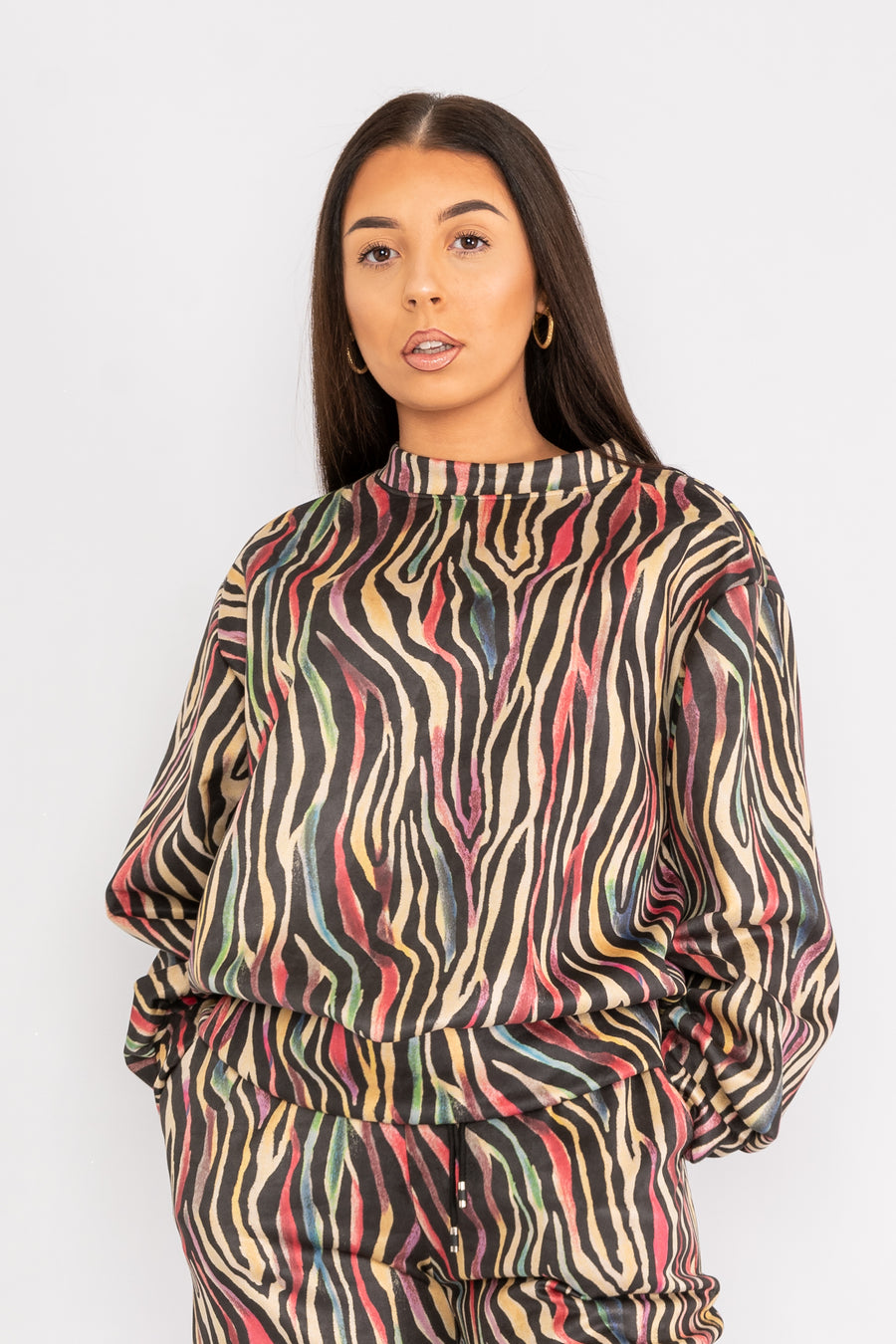 Patterned tracksuit top.