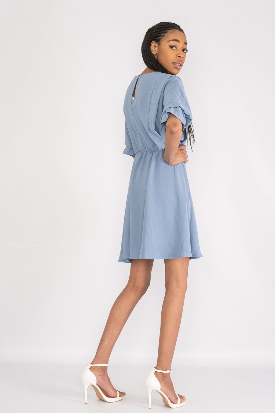 Tunic dress with bell sleeves.