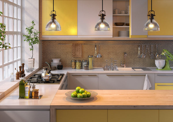 Yellow Kitchen with LED Lighting