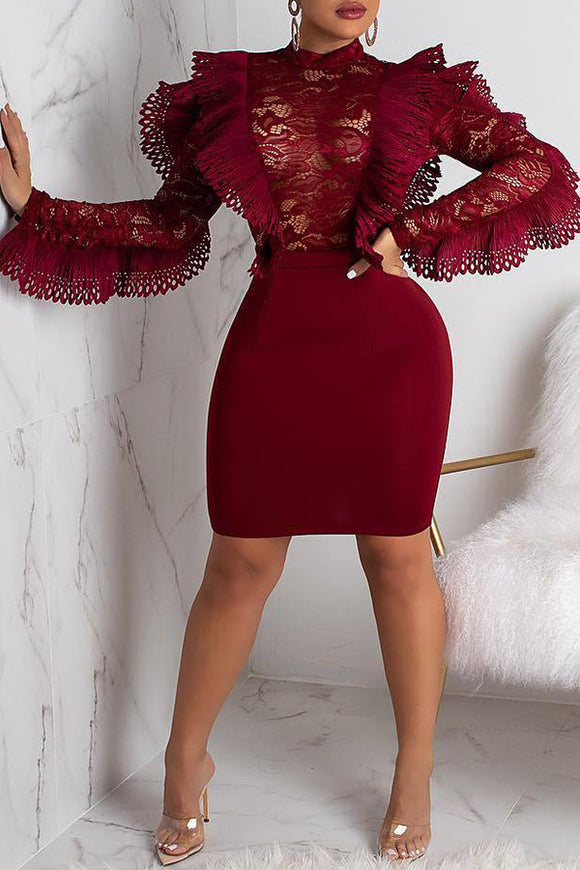 633abcfab98c Elegant Patchwork See-through Wine Red Lace Mini Dress
