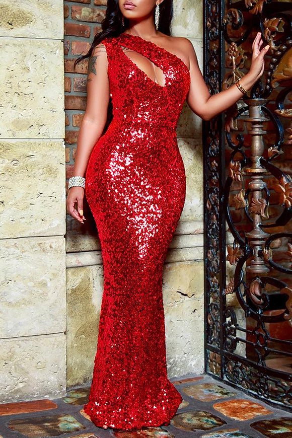 a6f873a48357 Hollowed-out Sequined Floor Length Dress